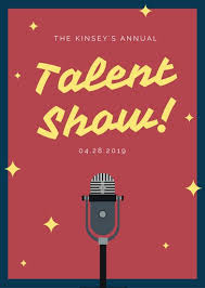 Talent Show Flyer Background Red Illustrated Microphone Talent Show Flyer Templates By Canva