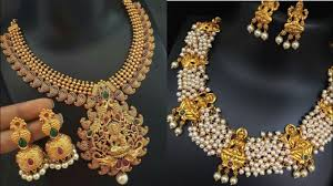 Temple Jewellery Gold Necklace Designs Real Gold Temple Jewelry Design Ideas South Indian Temple Necklace Set Design Ideas