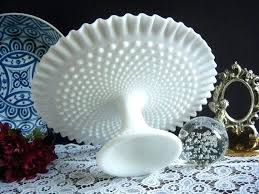 image 0 white milk glass cake stand 12 inch hobnail