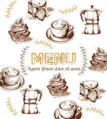 Menu Card Template Menu Card Template Drinks And Cakes Vector Fresh Coffee Cupcakes Design Line Art