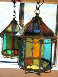 stained glass hanging light beautiful vintage lamp or antique arts and crafts whimsical colored pair shade
