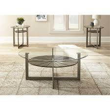 steve silver olson 3 piece glass top coffee table set in pecan