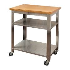 stainless steel kitchen table. Stainless Steel Kitchen Work Table Cart With Bamboo Top