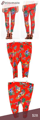 Old Navy Plus Size Size Chart Old Navy Red Stretch Tropical Floral Pixie Pants Old Navy