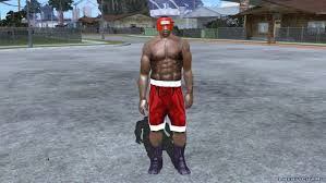 Carl Johnson in boxing uniforms (like a ped) for GTA San Andreas (iOS,  Android)