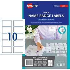 How To Print Avery Name Badges Avery Fabric Name Badge Labels L7427 White 10 Per Sheet