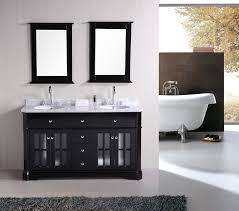 modern bathroom sink cabinets. Modern Bathroom Design With Cozy Soaking Tubs And Dark Ronbow Vanities Plus Mirrored Vanity Sink Cabinets