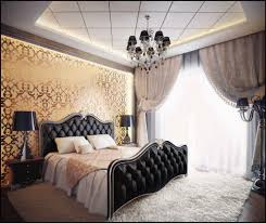 bedroom crystal chandelier with black shade over black tufted bed frame on white fur area rug also gold wall decal create luxury bedroom nuance