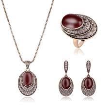 2019 whole vintage bridal jewelry sets for women full rhinestone crystal big oval red resin stone pendant necklace earrings ring set 20 from saucy