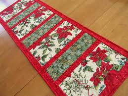 Christmas table runner, modern holiday table runner, poinsettia, holly,  snowflakes, contemporary table runer, quiltsy handmade