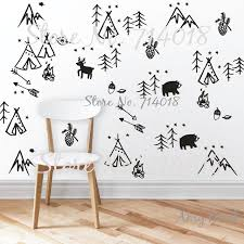 woodlands wall decals woodland doodles wall decals forest tree animals arrows wall stickers for kids rooms