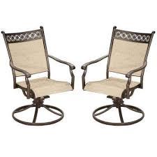 bali sling aluminum metal outdoor indoor pair of bronze black swivel rockers for dining balcony