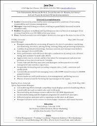 Retail Management Resume Unique Sports Management Resume