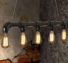 reclaimed style pipe work effect pendant light