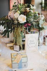 classic cascading centerpiece with book themed table number