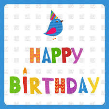happy birthday greeting card and cute bird in holiday hat in blue frame vector image to zoom