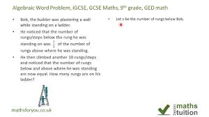 algebra word problems igcse gcse maths 9th grade ged math part 2
