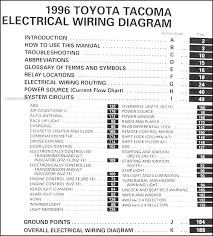 1996 toyota tacoma pickup wiring diagram manual original covers all 1996 toyota tacoma models including short bed xtra sr5 this book measures 11 x 8 5 and is 0 38 thick