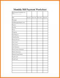 Monthly Bill Pay Template Rome Fontanacountryinn Com