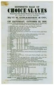 slavery in america back in the headlines extensive of choice slaves new orleans 1859 girardey c e natchez trace collection broadside collection dolph briscoe center for american history