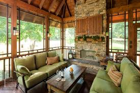 homey ideas screen porch fireplace 18 screened with and exposed rafter ceilings