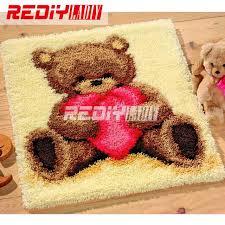3d latch hook rug kits diy needlework unfinished crocheting rug yarn cushion mat embroidery carpet rug
