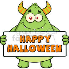 8935 royalty free rf clipart ilration smiling horned green monster cartoon character holding happy halloween sign vector ilration isolated on white