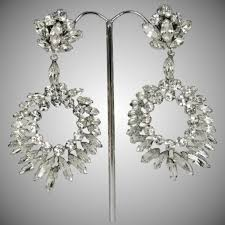 huge vintage sherman clear crystal chandelier earrings