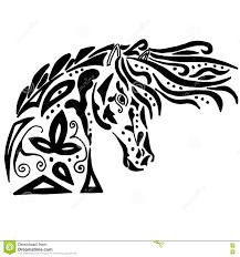 черные расцветка или татуировка лошади иллюстрация вектора