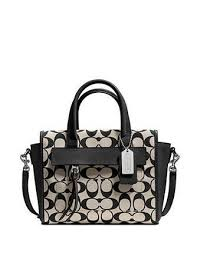 coach bleecker logo charm medium apricot satchels dwq  coach bleecker mini  riley carryall in signature fabric