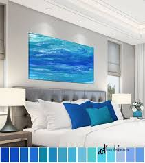 art over couch bed decor teal wall art
