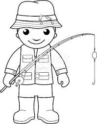 Small Picture Fisherman Coloring Page For Kids stock vector art 486267198 iStock