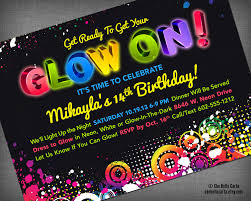 free printable glow in the dark birthday party invitations glow neon black light party customized