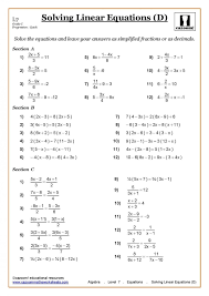 worksheet maths ks3 ks4 worksheets printable with answers math algebra equations solving linear page min year