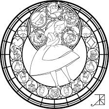 Small Picture Alice Stained Glass Redo line art by Akili Amethyst on
