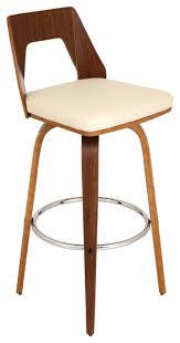 mid century modern bar stools. Trilogy Mid Century Modern Swivel Barstool In Walnut Wood With Cream PU Fabric Bar Stools T
