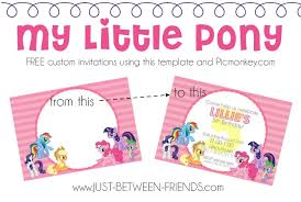 Small Picture My Little Pony Invitations Free Template Just Between Friends