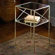 small round glass top accent table brass plated iron and square side s on
