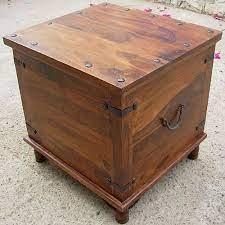 rustic square storage trunk box coffee