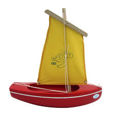 wooden toy sailing boat red gold 203