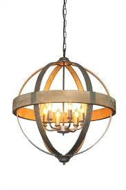 round wood and metal chandelier