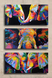 colorful elephant painting on canvas wall decor by sumareeart
