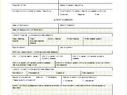 Patient Form Template Incident Report Word Injury Hospital Hotel