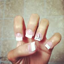 White Tip Nail Designs Tumblr Regular White Tip Acrylic Nails With A Design On My Accent
