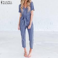 <b>2019 ZANZEA Women</b> Striped <b>Jumpsuits</b> Summer V Neck Short ...