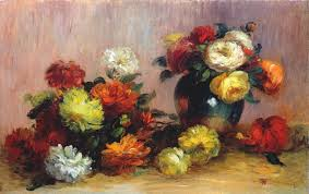 bouquet of roses in a green vase i by pierre auguste renoir