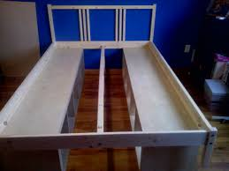 unfinished white oak wood bed frame with storage shelves inspiring diy bed frame with storage