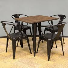 amerihome loft style 32 in x 32 in dining table set in black with
