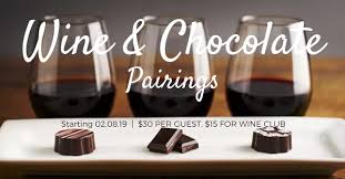 Wine And Chocolate Pairings Chart Paradise Springs Winery Homepage