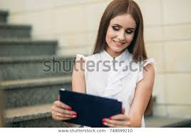 Use Tablet As Phone Young Girl Use Tablet Phone Work Stock Image Download Now
